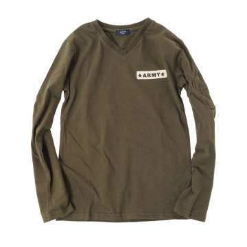 【GLAZOS】★特別ご奉仕価格★ARMYワッペンVネック長袖Tシャツ[カーキ]